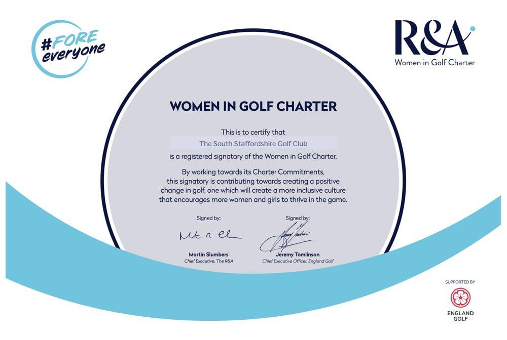 south stafforshire golf club women in golf charter